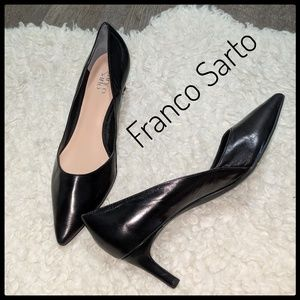 EUC ~ FRANCO SARTO Black Leather Pumps